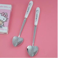 10 Pcs Cartoon Hello Kitty Ceramic Handle Stainless Steel Love Heart Spoons