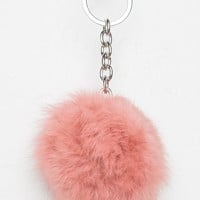 ROSE PINK FUR BALL KEYCHAIN