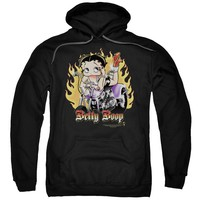 Betty Boop - Biker Flames Boop Adult Pull Over Hoodie
