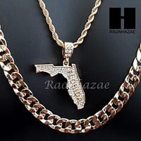 "MEN FLORIDA STATE MAP US PENDANT 30"" CUBAN LINK CHAIN NECKLACE SET S92G"