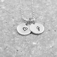 Initial Necklace, g Heart Necklace, Letter g Necklace, Initial Jewelry, Heart, Sterling Silver Jewelry, Hand Stamped, Charm Necklace, g