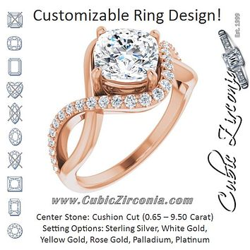 Cubic Zirconia Engagement Ring- The Kwan Lee (Customizable Cushion Cut Design with Semi-Accented Twisting Infinity Bypass Split Band and Half-Halo)