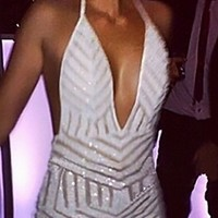 White Metallic Geometric Sequined Halter Plunge V Neck Open Back Bodycon Dress