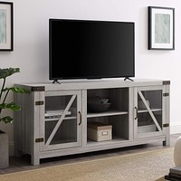 """Walker Edison Furniture Company Farmhouse Barn Glass Wood Universal Stand for TV's up to 64"""" Flat Screen Living Room Storage Cabinet Doors and Shelves Entertainment Center, 58 Inch, Stone Grey TV Stand"""