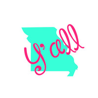 Y'all State Decal,Monogrammed State Decal,Personalized State Decal, Southern Preppy, Georgia State Decal, State car decal, Monogram southern