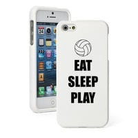 For iPhone 4 4S 5 5S 5c White Rubberized Hard Case Cover Eat Sleep Volleyball
