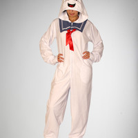 Ghostbusters Stay Puft Footed Hooded Adult Pajamas