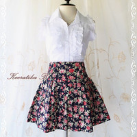 Me And My Skirt - Cutie Simply 17 Inches MINI SKIRT Dark Navy Playful Floral Print Elastic Waist XS-S
