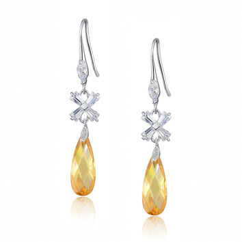 Teardrop and X-shaped Baguette Cubic Zirconia Earrings (Amber)