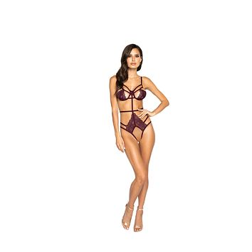 Strappy Crotchless Teddy with Underwire Support