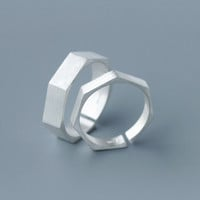Fashion and personality Polygon ring  ,925 Sterling Silver ring