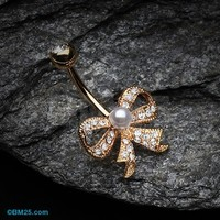 Golden Bow-Tie Splendid Belly Button Ring