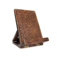 CARVED ROSEWOOD TABLET AND BOOK EASEL - MATR BOOMIE
