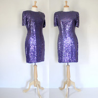 Vintage 80s Glam Dress / Purple Sequined Trophy Dress / Laurence Kazar / Festive Bombshell Cocktail Party Dress / Fall Winter / 80s Fashion