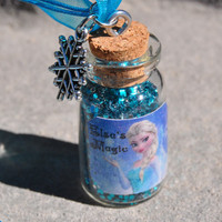 Disney Frozen, Large Bottle of Elsa's Magic, Organza Ribbon Necklace with Silver Snowflake Charm