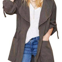 Grey Hooded Drawstring Pockets Trench Coat