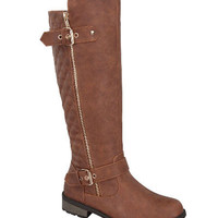 Mango Quilted Riding Boots with Side Zipper and Double Buckle Accent: Tan