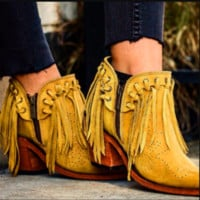 Hot style hot selling fringed pointed ankle boots