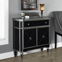 """Brushed Charcoal Grey/Black Mirrored 32""""L Accent Table"""