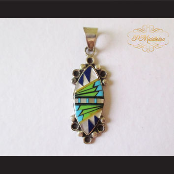 P Middleton Almond Shape Pendant Sterling Silver 925 with Semi-Precious Stones