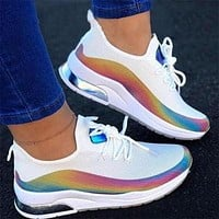 Reflective fly woven mesh shoes rainbow line summer breathable casual sports shoes white