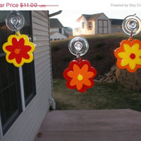 On Sale decorations window or mirror stick ups set of three  3D  hanging flower ornament ready to ship