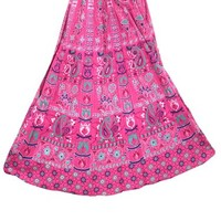 Indi Skirt- Women's Maxi Skirt Pink Printed Indian Cotton Long Skirts, Gift for Her: Amazon.com: Clothing