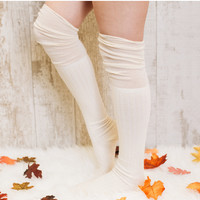 Dandy Over The Knee Socks - Ivory