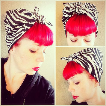 NEW Zebra Bandana Headwrap Bandana Hair Bow Tie 1950s Vintage Style - Rockabilly - Pin Up - For Women, Teens