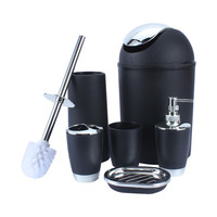 1Set 6Pcs European Style Bathroom Accessory Set Soap Dish Dispenser Tumbler Toilet Brush Holder Home Decorate
