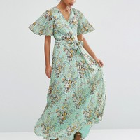 ASOS Pleated Maxi Dress in Green Base Floral Dress at asos.com