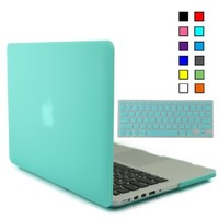 iBenzer - 2 in 1 Soft-Skin Smooth Finish Soft-Touch Plastic Hard Case Cover & Keyboard Cover for Macbook Pro 13.3'' with Retina display NO CD-ROM (Model: A1502/A1425), Turquoise MMP13R-TBL+1