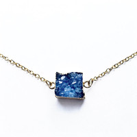 Blue Small Druzy, Blue Druzy Necklace, Square Druzy, Drusy, For Her, 18kt Gold Necklace, Dark Blue, Tiny, Dainty