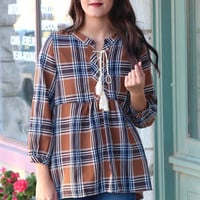Plaid Peasant + Tassel Tie Top {Toffee Mix}