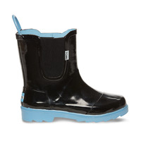 Black Blue Youth Rain Boots