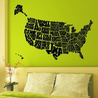 Vinyl Wall Decals United States US Map Decals Words Decal Sticker Home Decor Art Mural Z617