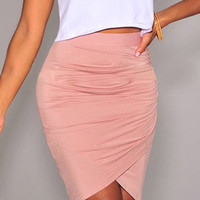 Pink Knee-Lenght Bodycon Asymmetric Skirt