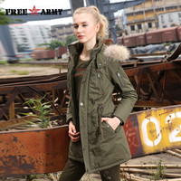 2016 Winter Women Wadded Jacket Female Medium-Long Coat Fur Collar Thickening Hooded Military Womens Outerwear Down Parka Gs-889