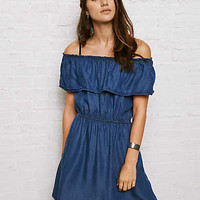 Don't Ask Why Chambray Off-the-Shoulder Dress, Blue