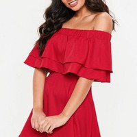 Missguided - Red Ruffle Layer Bardot Swing Dress