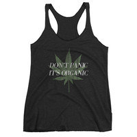 Don't Panic It's Organic Vintage Cannabis Racerback Tank Top