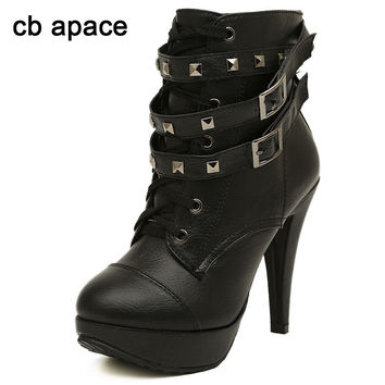OPAL FERRIE - Lace Up High Heel Creeper Ankle Rivets  Buckle Boots