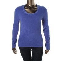 Karen Scott Womens Petites Knit Jeweled Pullover Sweater