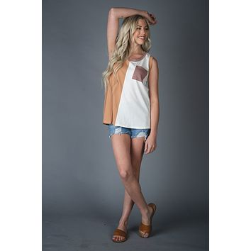 Camel and Ivory Colorblock Tank Top