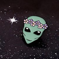 New Arrival ! Cute Funny Outer Space ET Flower Crown Alien Saucer Man Soft Enamel Brooches Pins For Friends
