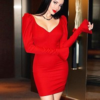 Fall Winter New Fashion Women Long Sleeve Dress Red