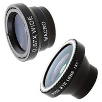 Patuoxun Camera Lens Kit for iPhone 4G 4S iPad Mobile Phones (Fish Eye Lens, Wide Angle, Micro Lens)