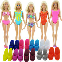 Lot 10 Item = 5 Beach Bathing Clothes Swimsuit + 5 Slippers Outfits For Barbie Doll Dress Swimwears