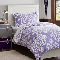 Ikat Medallion Duvet Bedding Bundle, Lavender
