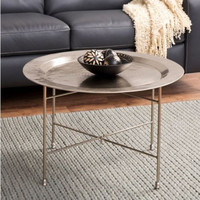 Handmade Coffee Table Living Room Furniture Crossbar Stand Antique Nickel Finish